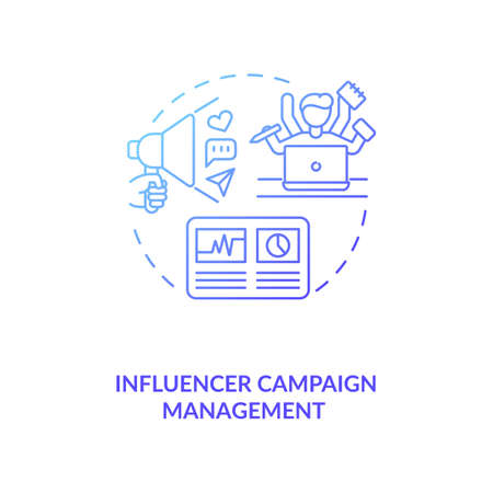 Influencer campaign management concept icon. Effective campaign strategy idea thin line illustration. Management tools. Influencer marketing agency service. Vector isolated outline RGB color drawing