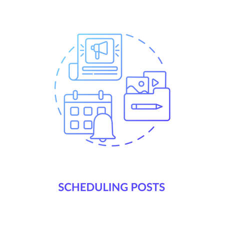 Scheduling posts concept icon. Becoming nanoinfluencer tip idea thin line illustration. Scheduled posts management. Captions creating. Uploading content. Vector isolated outline RGB color drawing