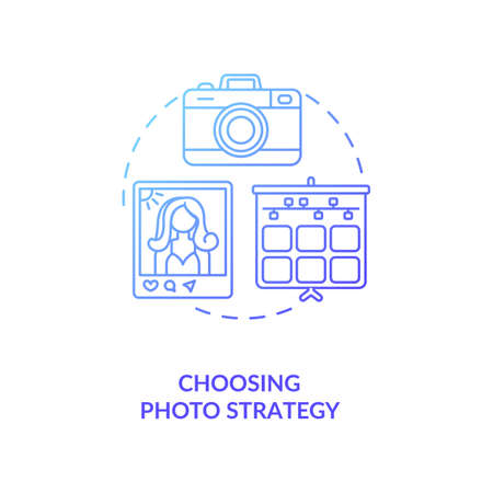 Choosing photo strategy concept icon. Becoming nanoinfluencer tip idea thin line illustration. Photo-management. Visual content. Photographer. Vector isolated outline RGB color drawing Ilustração