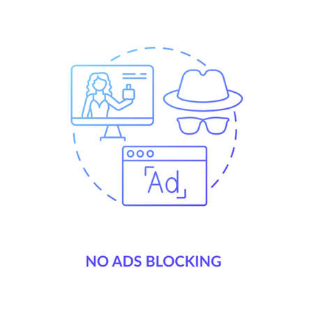 No ads blocking concept icon. Influencer marketing benefit idea thin line illustration. Online advertisements. Video content. Social media channels. Vector isolated outline RGB color drawing