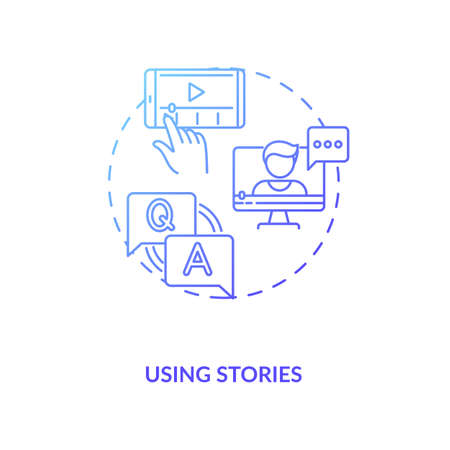 Using stories concept icon. Real-time social storytelling idea thin line illustration. Behind-the-scenes footage. Questions and polls. Interactive content. Vector isolated outline RGB color drawing