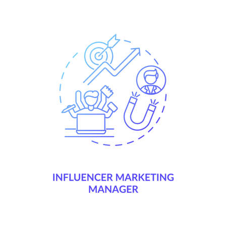 Influencer marketing manager concept icon. Campaign management idea thin line illustration. Market research and trend analysis. Social media knowledge. Vector isolated outline RGB color drawing
