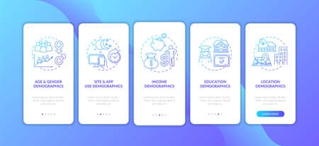 Social media demographics onboarding mobile app page screen with concepts. Site and app, income demographics walkthrough 5 steps graphic instructions. UI vector template with RGB color illustrations