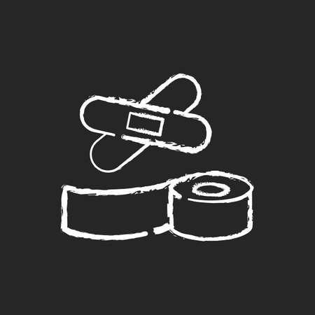 Plasters and medical tape chalk white icon on black background. Wrap for injury treatment. Bandage for trauma. Adhesive strip for patient. Emergency help. Isolated vector chalkboard illustration 向量圖像