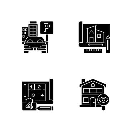 Residential house structure black glyph icons set on white space. Parking lot. Engineering plan for building. Number of room. Home tour. Silhouette symbols. Vector isolated illustration Ilustração