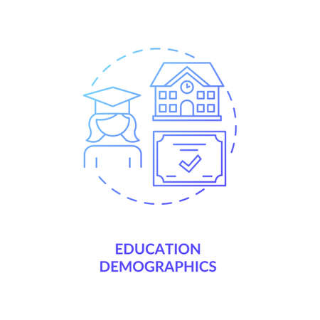 Education demographics concept icon. Educational attainment idea thin line illustration. College level. Target customers. University graduates. Vector isolated outline RGB color drawing 向量圖像