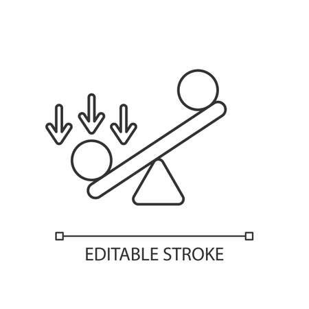 Synergy bias linear icon. Unbalanced scale with spheres. Advantage and disadvantage on scale. Thin line customizable illustration. Contour symbol. Vector isolated outline drawing. Editable stroke