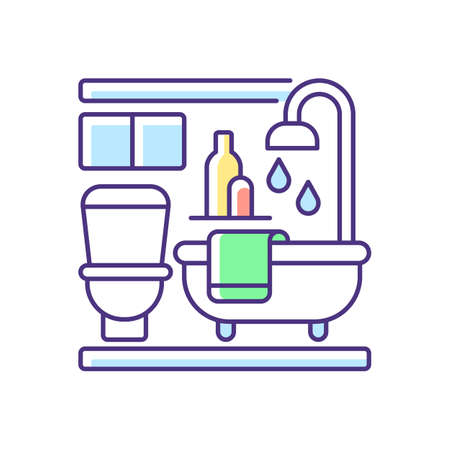 Baths RGB color icon. Bathroom in apartment. Shower in accommodation. Lavatory in house. Restroom in home. Modern interior. Room with furniture. Real estate. Isolated vector illustration