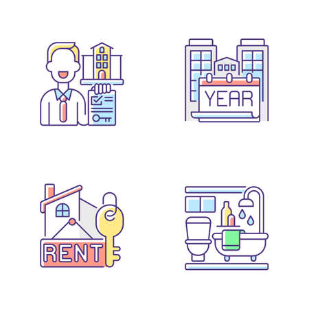 Realtor agency RGB color icons set. Year built. Rental price for home. Bath room in house. Residential accommodation for living. Property for sale. Apartment for rent. Isolated vector illustrations 向量圖像