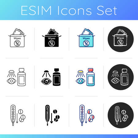 Emergency help supplies icons set. Paper towels. Eyewash cleanser. First aid kit. Fever reducer pills. Medication for disease. Linear, black and RGB color styles. Isolated vector illustrations Stock Illustratie
