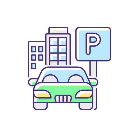 Parking spot RGB color icon. Lot for automobiles near home. Space for car near residential building. Garage area service. Real estate. Zone for transport. Isolated vector illustration