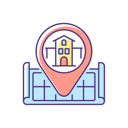 House location RGB color icon. Pinpoint home on map. GPS marker for residential accommodation. Search for real estate. Realty for sale. Find apartment for living. Isolated vector illustration  イラスト・ベクター素材