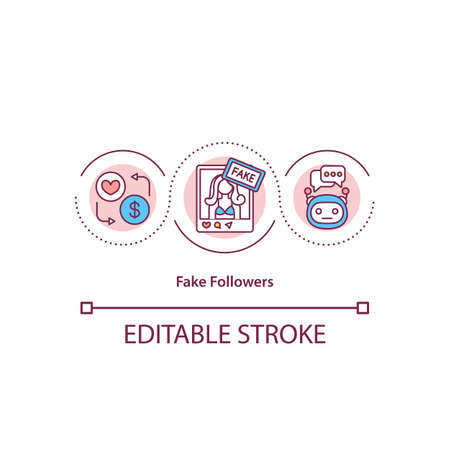 Fake followers concept icon. Faked audience. Social media scam. Bot pages creation. Popular lier idea thin line illustration. Vector isolated outline RGB color drawing. Editable stroke