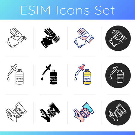 Medical supplies icons set. Gauze bandages and pads. Open wound treatment. First aid kit. Skin rash cream. Ointment for acne. Linear, black and RGB color styles. Isolated vector illustrations