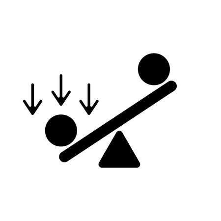 Synergy bias black glyph icon. Unbalanced scale with spheres. Advantage and disadvantage on scale. Measurement of value. Silhouette symbol on white space. Vector isolated illustration Çizim