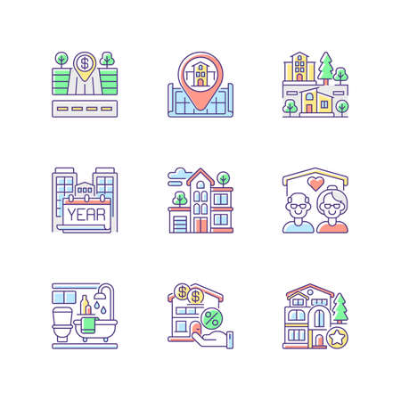 House services RGB color icons set. Empty lot for sale. Home position on map. Nursing house for seniors. Year built of building. Suburban neighborhood. Bath room. Isolated vector illustrations
