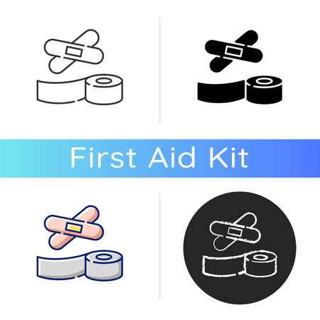 Plasters and medical tape icon. Sticky wrap for injury treatment. Bandage for trauma. Adhesive strip for damaged patient. Linear black and RGB color styles. Isolated vector illustrations 向量圖像