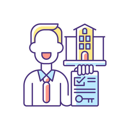 Realtor RGB color icon. Real estate agent. Business contract. Invest money in realty. Residential property for sale. House mortgage. Sell accommodation. Buy apartment. Isolated vector illustration 矢量图像