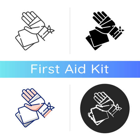 Gauze bandages and pads icon. Adhesive wrap for hand injury. Joint trauma aid. Damaged wrist hospital treatment. Injured patient help. Linear black and RGB color styles. Isolated vector illustrations 向量圖像