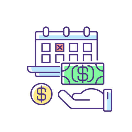Monthly payment RGB color icon. Financial investment. TIme on calendar for paying debt. Date for commercial deal. Business schedule. Deadline for rent payment. Isolated vector illustration