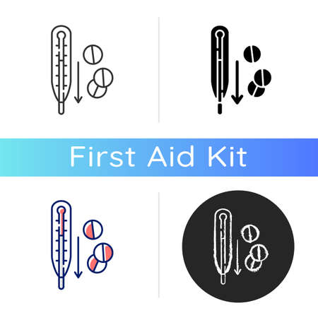 Fever reducer pills icon. Drugs for flu treatment. Remedy for temperature. Termometer with dropping heat. Medication for influenza. Linear black and RGB color styles. Isolated vector illustrations