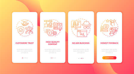 Influencer marketing benefits onboarding mobile app page screen with concepts. High-quality content, trust walkthrough 4 steps graphic instructions. UI vector template with RGB color illustrations