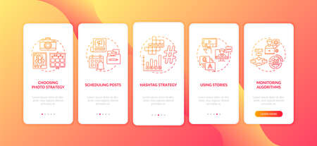 Becoming nanoinfluencer tips onboarding mobile app page screen with concepts. Monitoring algorithms, strategy walkthrough 5 steps graphic instructions. UI vector template with RGB color illustrations
