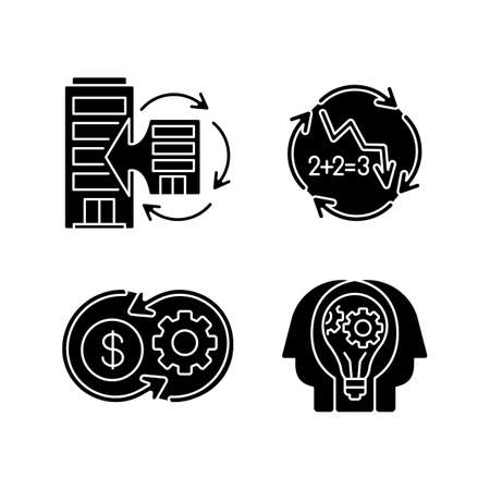 Business synergy black glyph icons set on white space. Corporate expansion. Company merge. Decline in numbers. Decrease in figures. Money flow. Silhouette symbols. Vector isolated illustration