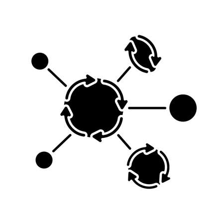 Synergetic network black glyph icon. Business collaboration. Communication technology. Connection between organizations. Silhouette symbol on white space. Vector isolated illustration Ilustração