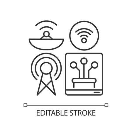 Communications infrastructure linear icon. Broadcasting. Internet. Information technology. Thin line customizable illustration. Contour symbol. Vector isolated outline drawing. Editable stroke