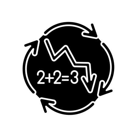 Negative synergy black glyph icon. Decline in financial figures. Decrease in stock numbers. Economic failure. Loss of investment. Silhouette symbol on white space. Vector isolated illustration