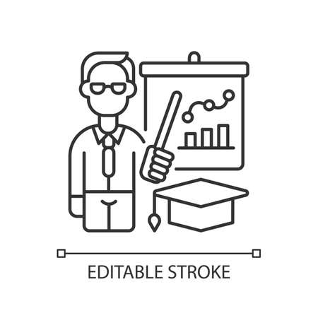 Educators linear icon. Essential workers. Educational institutions. School, college, university. Thin line customizable illustration. Contour symbol. Vector isolated outline drawing. Editable stroke