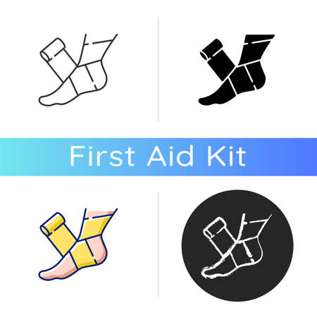 Elastic bandage icon. Suffer from injury. Hurt foot. Join trauma treatment. Medical equipment to help patient. Health care. Linear black and RGB color styles. Isolated vector illustrations