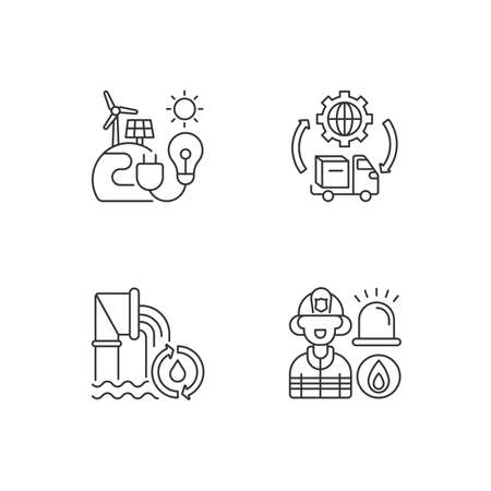 Basic services linear icons set. Renewable-energy facilities. Water and wastewater. Firefighting. Customizable thin line contour symbols. Isolated vector outline illustrations. Editable stroke