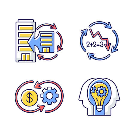 Business synergy RGB color icons set. Corporate expansion. Company merge. Decline in numbers. Decrease in figures. Money flow. Creative collaboration. Isolated vector illustrations