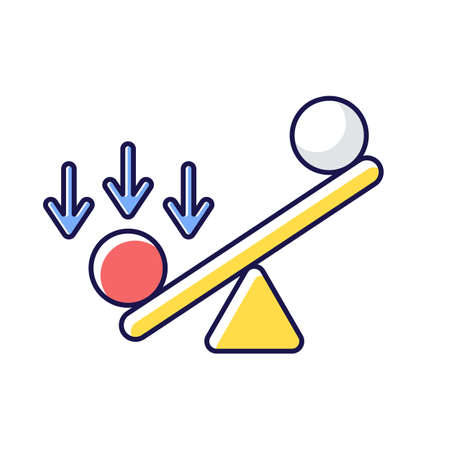 Synergy bias RGB color icon. Unbalanced scale with spheres. Advantage and disadvantage on scale. Measurement of value. Competitive struggle, overweight in balance. Isolated vector illustration Ilustração