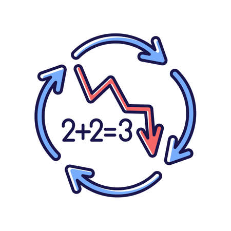 Negative synergy RGB color icon. Decline in financial figures. Decrease in stock numbers. Economic failure. Loss of investment. Arrow down. Recession in economy. Isolated vector illustration 向量圖像