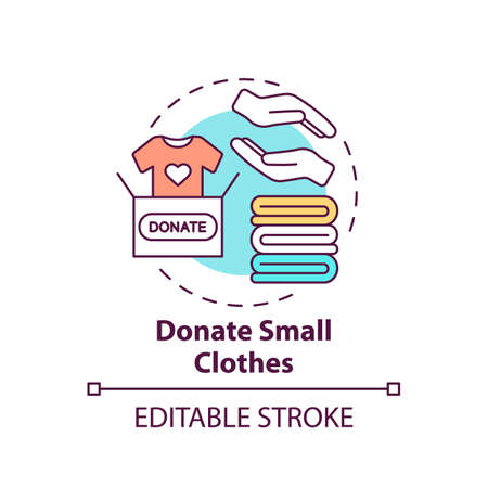 Donate small clothes concept icon. Body positivity tips. Giveaway old things. Helping other people idea thin line illustration. Vector isolated outline RGB color drawing. Editable stroke