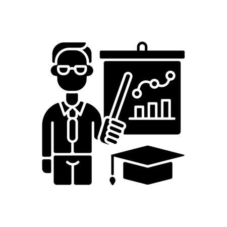 Educators black glyph icon. Essential workers. Teachers. Educational institutions. School, college, university. Professors. Silhouette symbol on white space. Vector isolated illustration 向量圖像