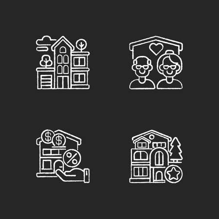 Building types chalk white icons set on black background. Residential property. New house. Nursing home for seniors. Mortgage to buy home. Real estate. Isolated vector chalkboard illustrations