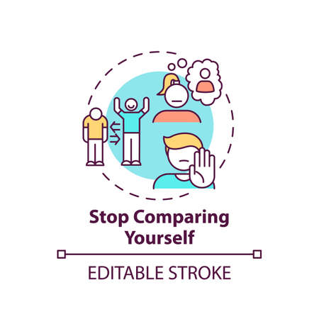 Stop comparing yourself concept icon. Body positivity tips. Loving yourself no matter what. Unique people idea thin line illustration. Vector isolated outline RGB color drawing. Editable stroke