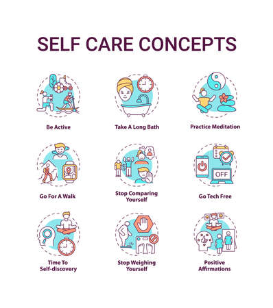 Self care concept icons set. Self care checklist. Self care practices. Body positivity tips idea thin line RGB color illustrations. Vector isolated outline drawings. Editable stroke