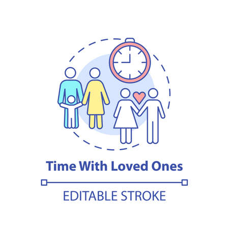 Time with loved ones concept icon. Self care checklist. Close relatives relationship. Family activities idea thin line illustration. Vector isolated outline RGB color drawing. Editable stroke