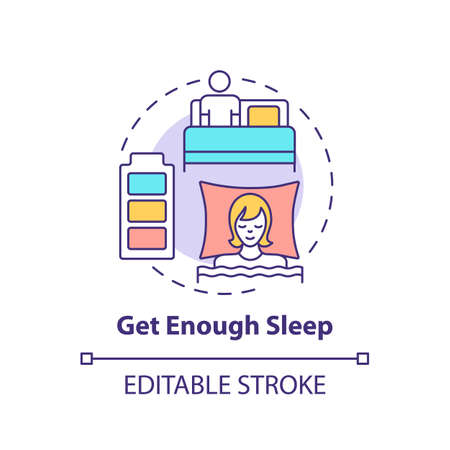 Get enough sleep concept icon. Self care practices. Health care ideas. Everyday body improvement idea thin line illustration. Vector isolated outline RGB color drawing. Editable stroke