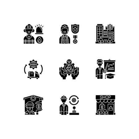 Key services black glyph icons set on white space. Firefighting. Public safety. Bank. Essential workers. Environmental services. Educators. Silhouette symbols. Vector isolated illustration