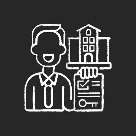Realtor chalk white icon on black background. Real estate agent. Business contract. Invest money in realty. Residential property for sale. House mortgage. Isolated vector chalkboard illustration