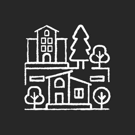 Neighborhood chalk white icon on black background. Downtown district. Suburban living. Property types in metropolis. Skyscraper and residential house. Isolated vector chalkboard illustration Vettoriali