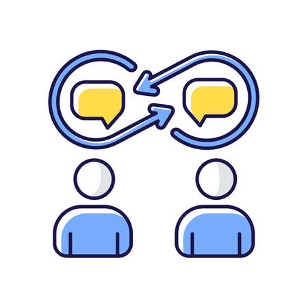 Interpersonal relationship RGB color icon. Chat with coworker. Discussion between employee. People talk with speech bubble. Work networking and personal interaction. Isolated vector illustration