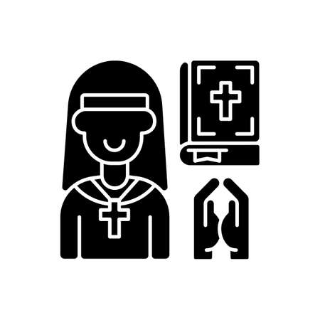 Clergy black glyph icon. Spiritual leaders. Religious duties. Church. Formal leaders within established religions. Specific rituals. Silhouette symbol on white space. Vector isolated illustration