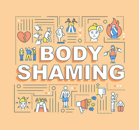 Body shaming word concepts banner. Criticism physical appearance. Discrimination. Infographics with linear icons on orange background. Isolated typography. Vector outline RGB color illustration